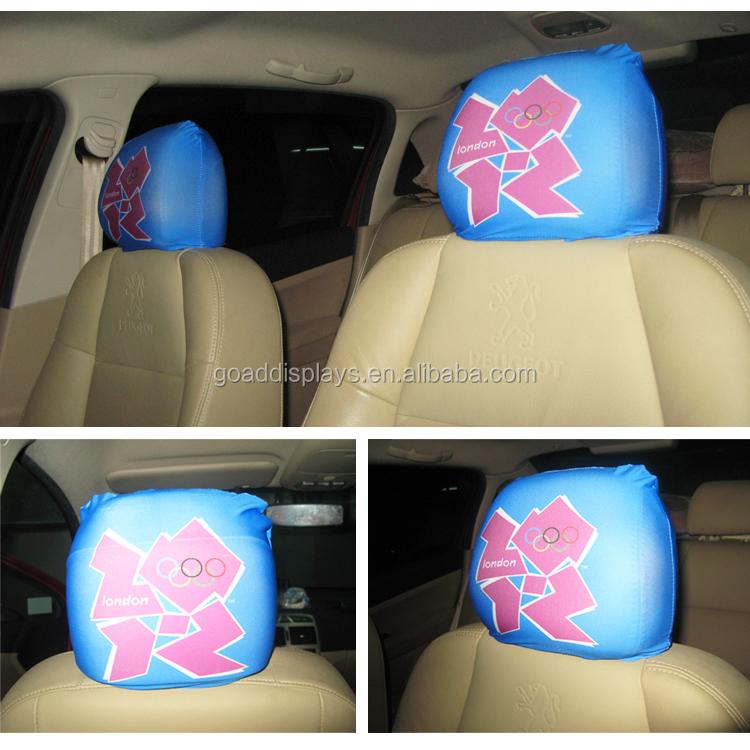 Custom Spandex gebreide polyester autostoel hoofdsteun covers voor decoraties