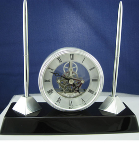 Rosewood Desk Set with pen holders & pens K8046 Skeleton Desktop clock