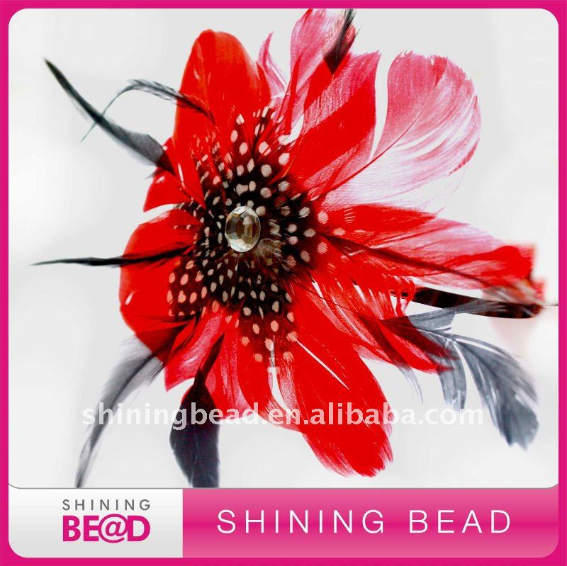 Hot sale red natural feather headband