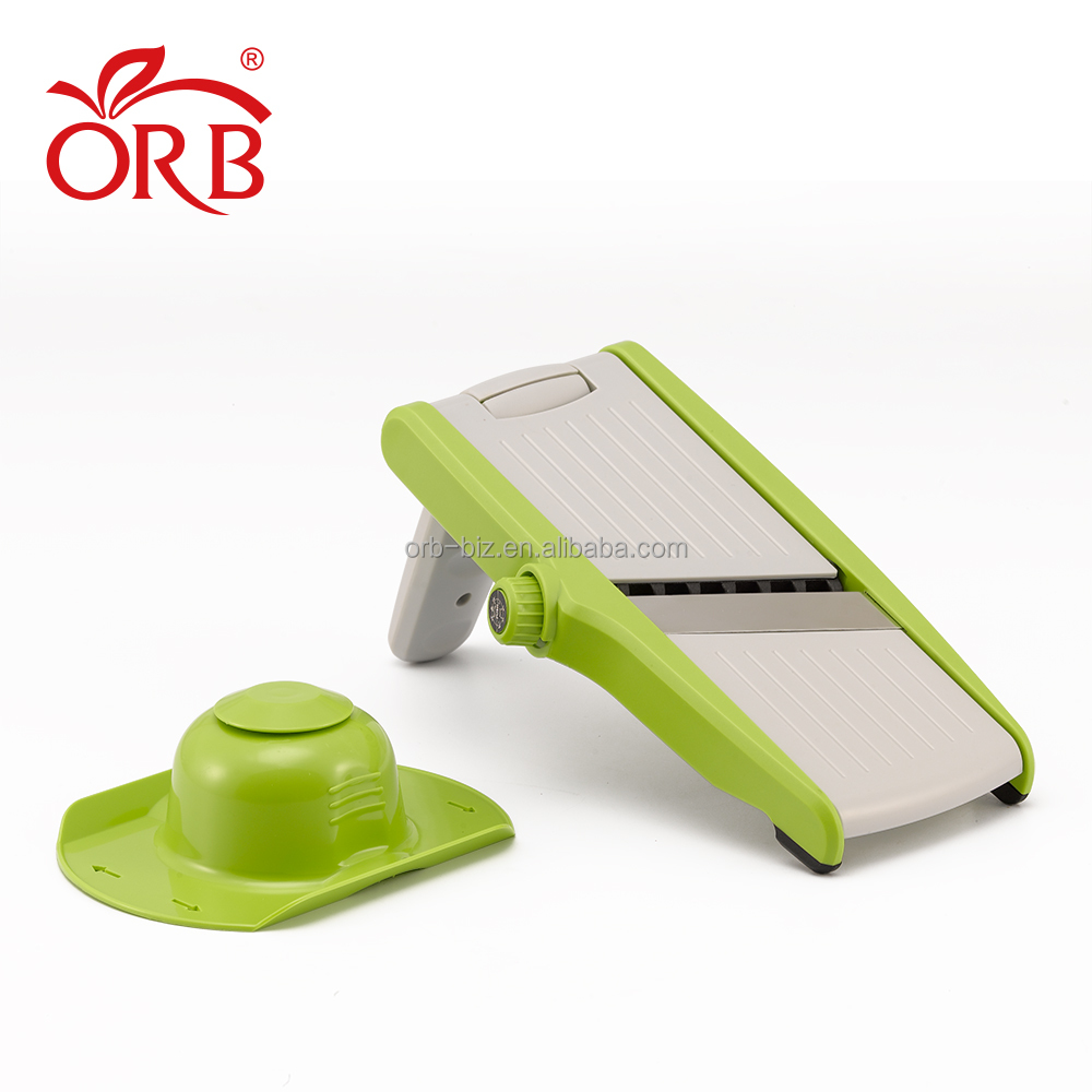 Plastik Berguna Adjustable Wortel Kentang Mandoline Slicer Cutter dengan Makanan Holder