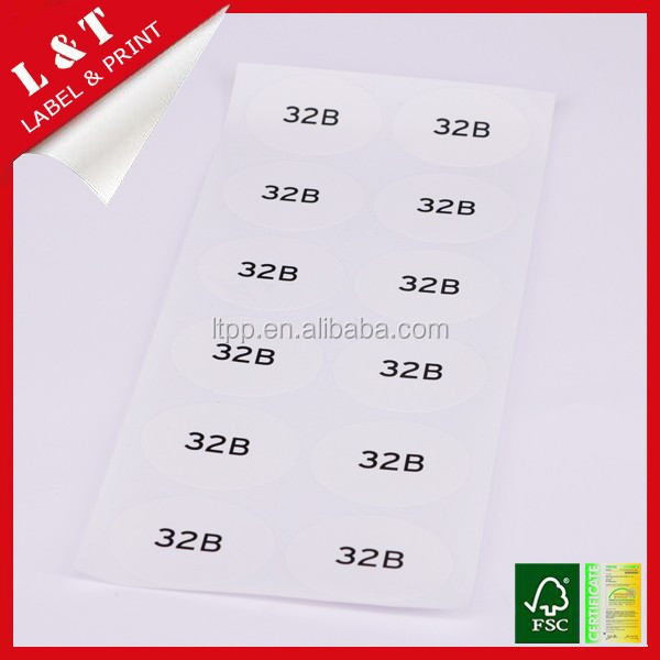 Bulk supply women bra size stickers label