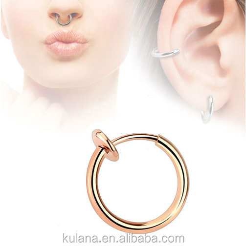 10 Mm Wide Gold Plated Septum Clicker Fake Septum Ring Nose Ring