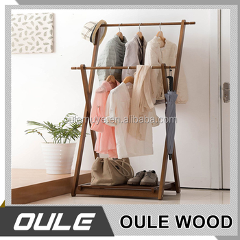 Original Color Solid Wood Clothing Display Frame Floor Standing