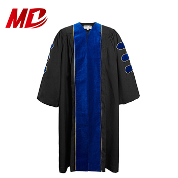 Customized Graduation Doctoral Robe with Cuff Sleeves Black Velvet Infront