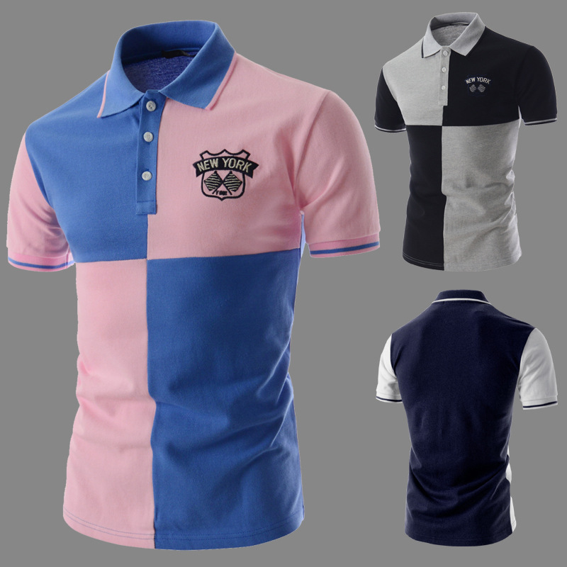 Stock wholesale Mens Short Sleeve Irregular Stitching Summer Casual Polo <strong>Shirt</strong>
