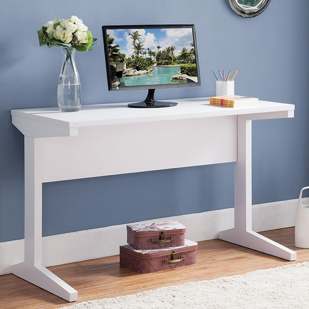 1PerfectChoice Simple Style Home Office Writing Computer Work Study Desk Stand Wood in White