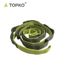 China Supplier TOPKO Cotton non slip silicone dots Stretching Yoga Strap With Loops