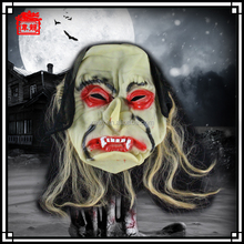 2015 Wholesale Scary Rubber Costumes Face Mask with wig for halloween party MJ03-1