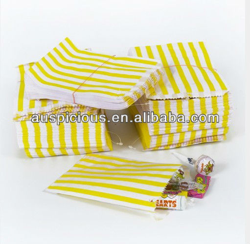 Price good yellow candy stripe kraft paper bags