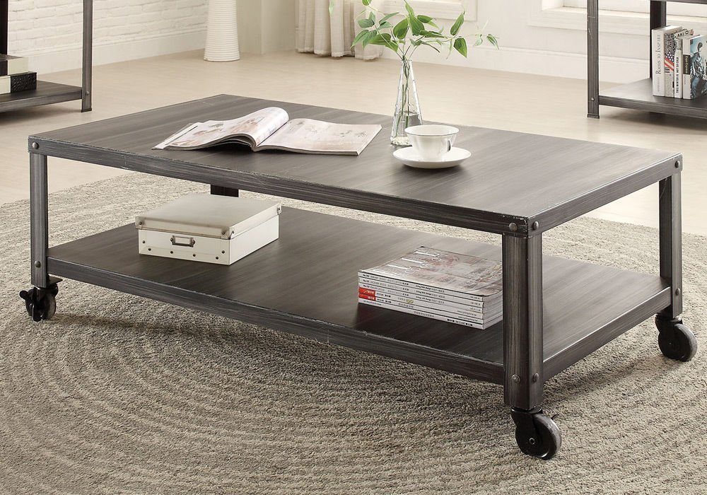 1PerfectChoice Sarina Living Room Home Coffee Table Antique Black Casters  Base Lower Shelf