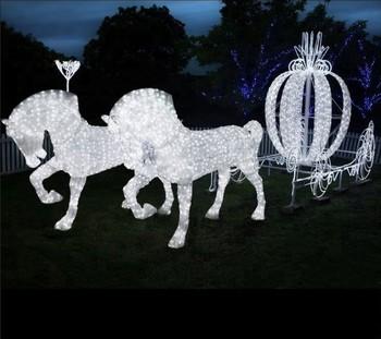 White Lowes Horse Carriage Led Acrylic
