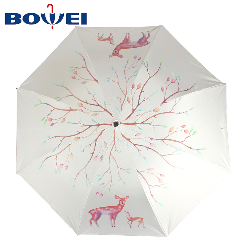 2020 trendy deer moose girl mini  custom outdoor travel uv proof polyester folding mini rain sun umbrella