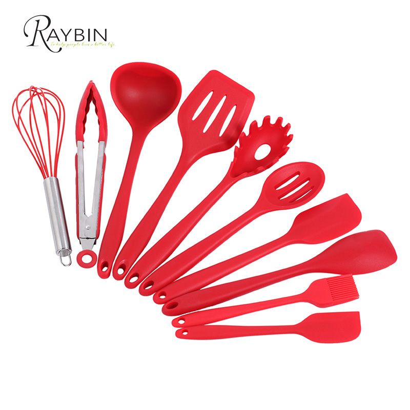 2018 Amazon Best Sellers Non-Stick Heat Resistant 10 Pieces red Kitchen Silicone Cooking Utensil <strong>Set</strong> for Baking BBQ