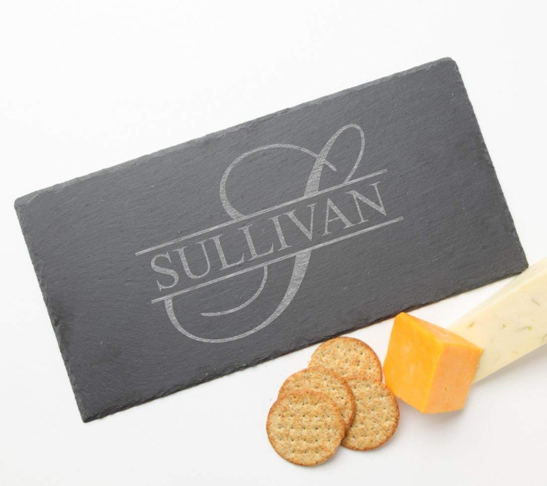 Personalized Slate Cheese Board, Custom Engraved Slate Cheese Board Monogram Design 25-Personalized Wedding Gifts, Engraved Housewarming Gift, Personalized Realtor Gift