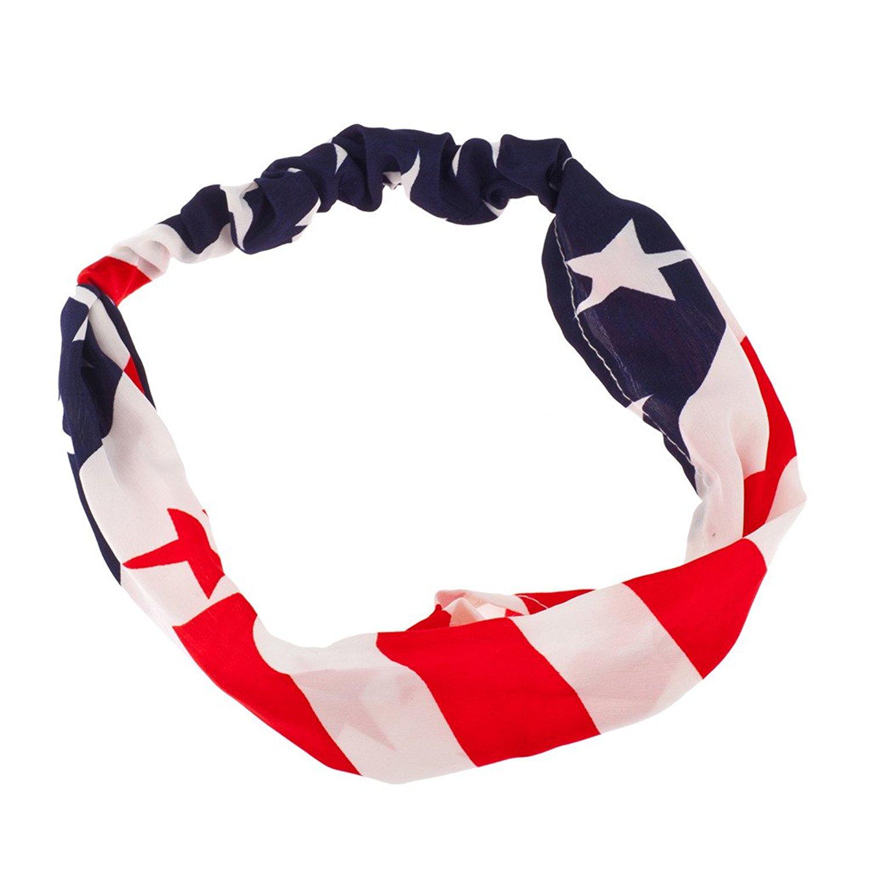 ff8d4b72e0 Lux Accessories American Flag Stars Stripes 4th Of July Stretch Headband  Head Band.