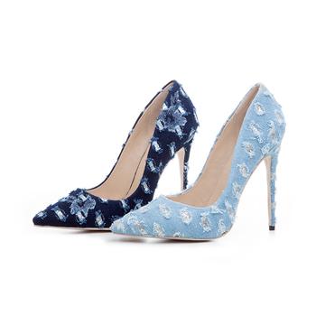49cbf7e901fb Pointed Toe Fashion Ladies Party Wear Shoes Jean Upper Stiletto High Heel  Pumps Women Dress Shoes