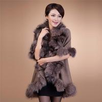 New fashion luxurious flat knitted women cashmere poncho with fox fur trim