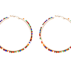 Packaging Customization [ Bead Hoop Earrings Beads ] Earrings Personalized Handmade Colorful Seed Bead Hoop Earrings Bohemian Seed Beads Wrapped Heart Earrings For Women