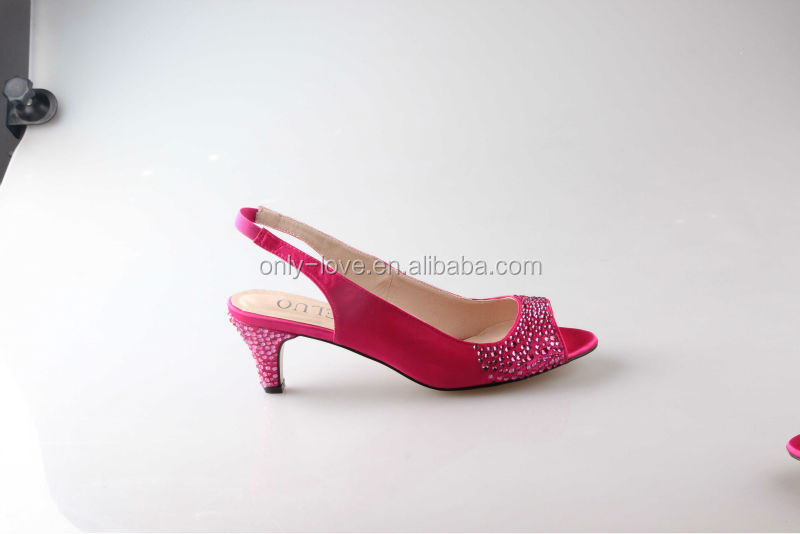 Pink Wedding Shoes Low Heel: BS844 Hot Sling Voltar Sandals Partido Sapatos De Noiva De