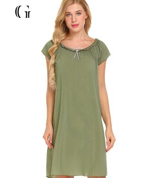 3d754b3c91 Hot Selling Sleep Gown Solid Night Dress for Women Ladies Hot Sleeping Dress