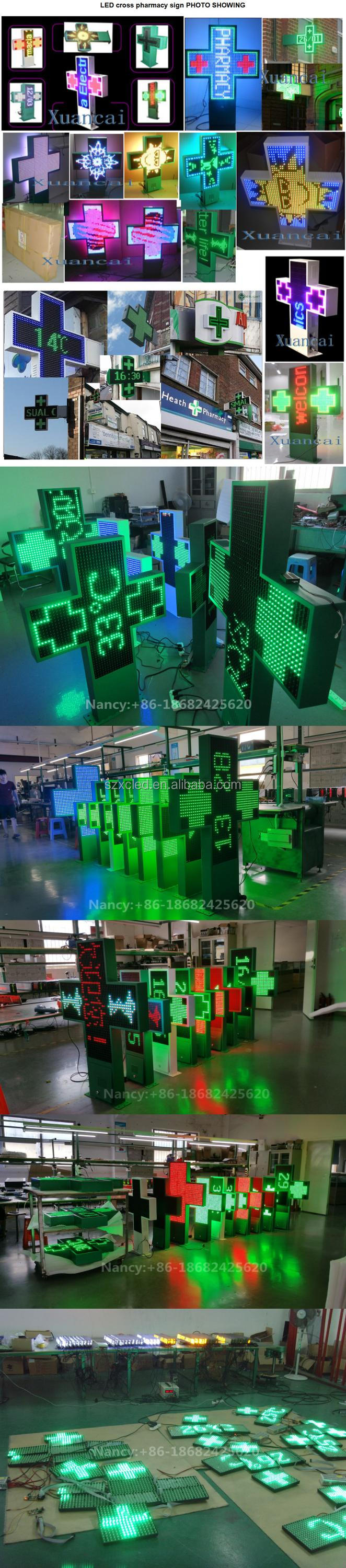 P20 Single Green Color Cross Sign In 100x100cm Size For Outdoor Waterproof LED Cross Pharmacy Display Panel