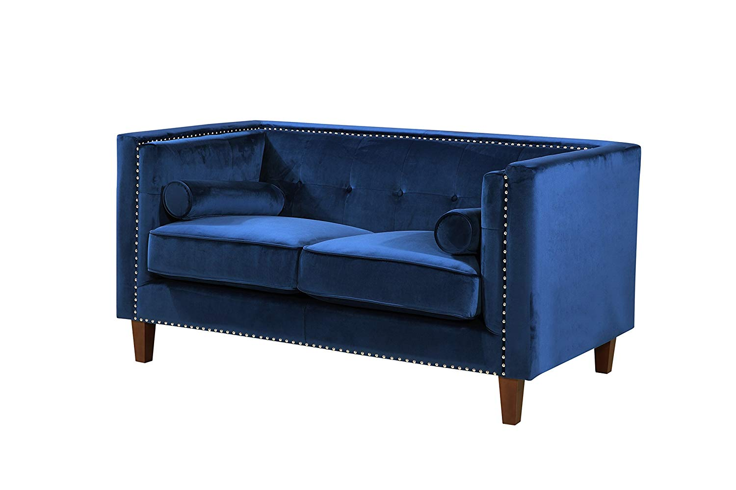 Container Furniture Direct S5369-L Kittleson Mid-Century Classic Chesterfield Living Room Loveseat, Blue