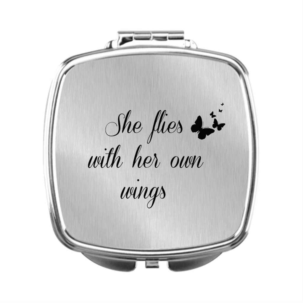 black T Dressing Mirror With Words Compact Makeup Mirror Women Compact Mirror Gift Motivational