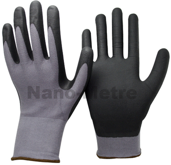 NMSAFETY cheap black nitrile coated safety working glove