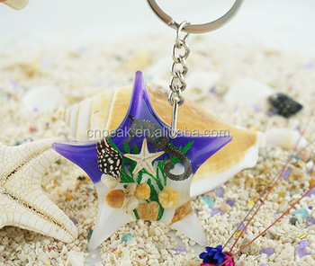 High quality seaside tourist characteristics souvenir three - dimensional starfish key chain