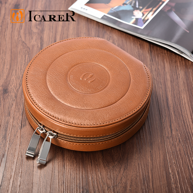 ICARER Custom Logo Leather Portable Round CD DVD Storage Bag
