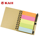 KAII Spiral Notebook Kraft Paper Cover Steno Pocket Notepad With Pen In Holder, Sticky Notes And Page Marker Index Tabs Flags
