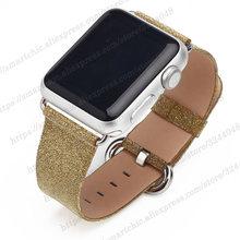 Блестящий кожаный ремешок для Apple Watch 5 4 38 мм 42 мм ремешок браслет для iWatch серии 5 44 3 2 1 браслет женский 40 мм 44 мм(China)