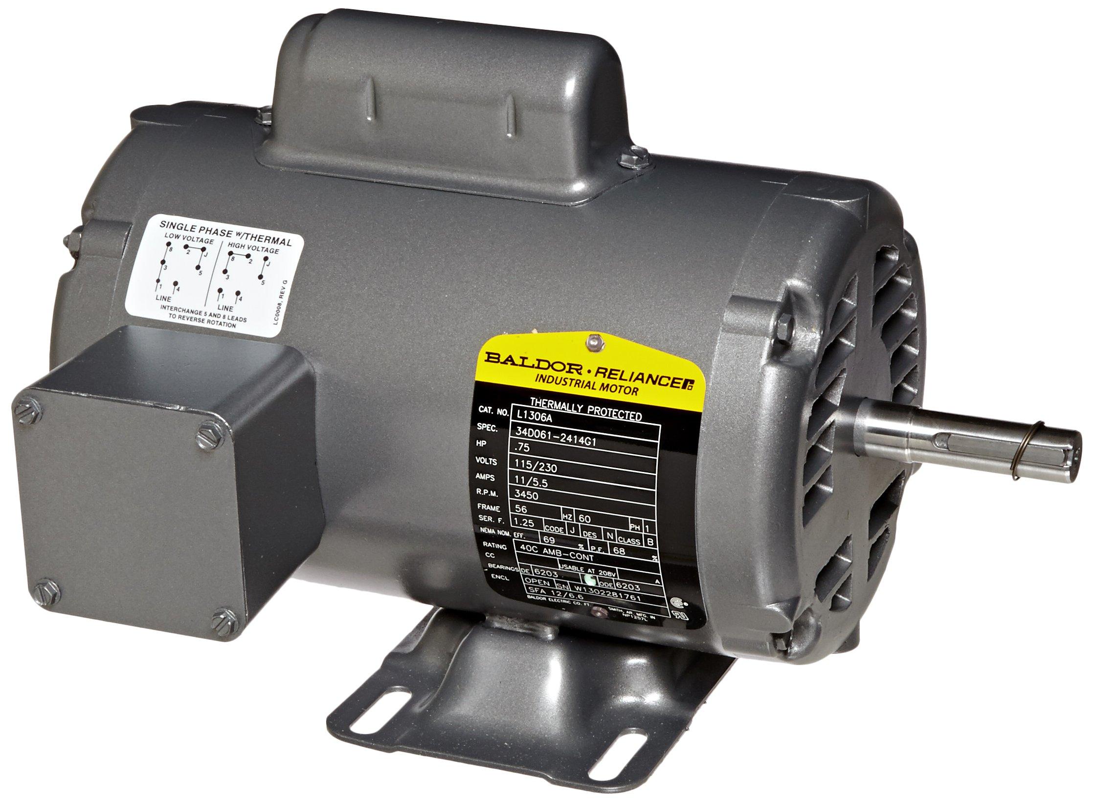 Baldor CM3541 General Purpose AC Motor 60Hz 56C Frame 3 Phase 3450rpm 230//460V Voltage 3//4Hp Output TEFC Enclosure