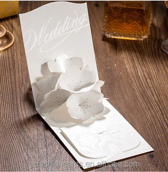 Pearlised Screen Printing Pop Up Flower 3d Wedding Invitations