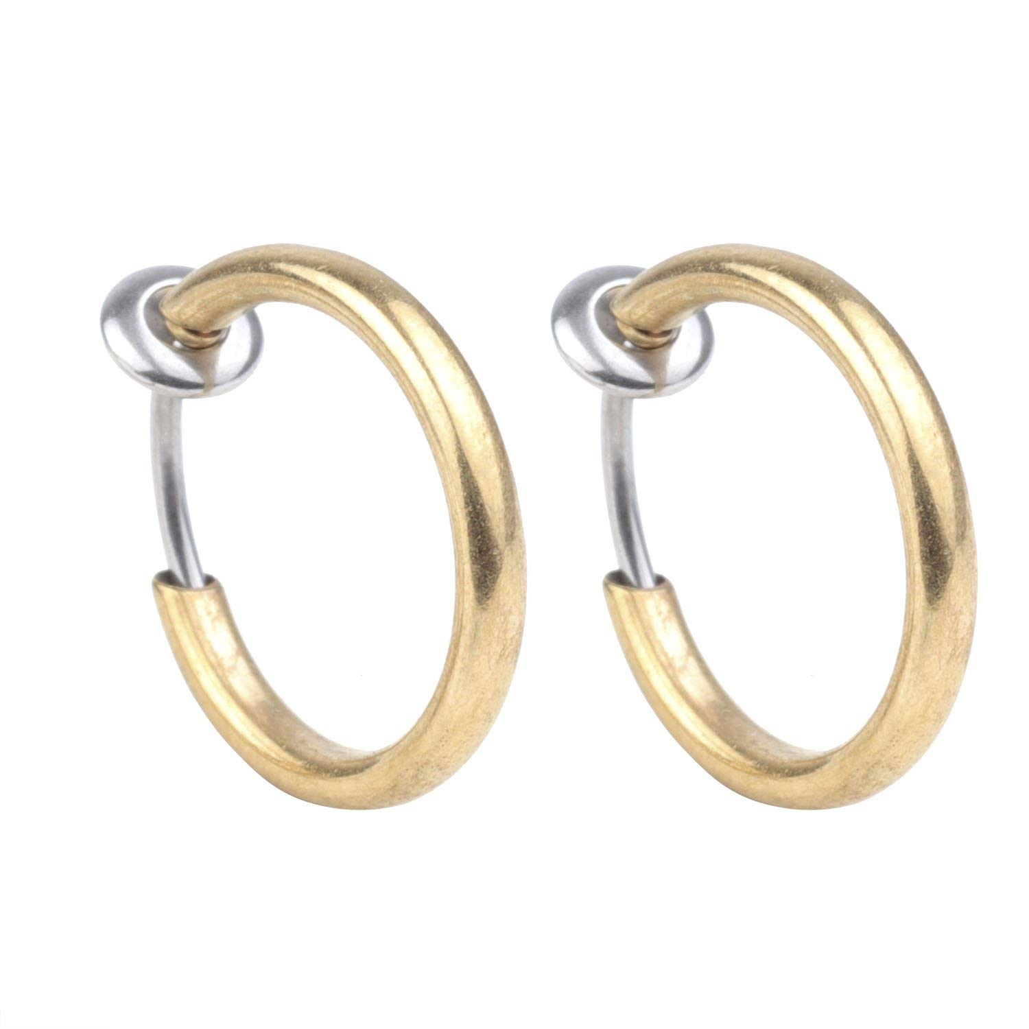 Get Quotations Ynr 16g 1 Pairs Gold Fake Cartilage Nose Ring Non Piercing Clip On Earrings