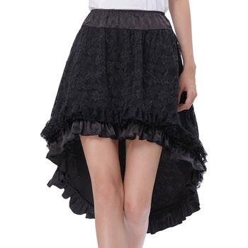 aa380ad3110f Belle Poque Vintage Retro Lace Satin Elastic Waist Asymmetrical High-Low  Black Skirt BP000329-