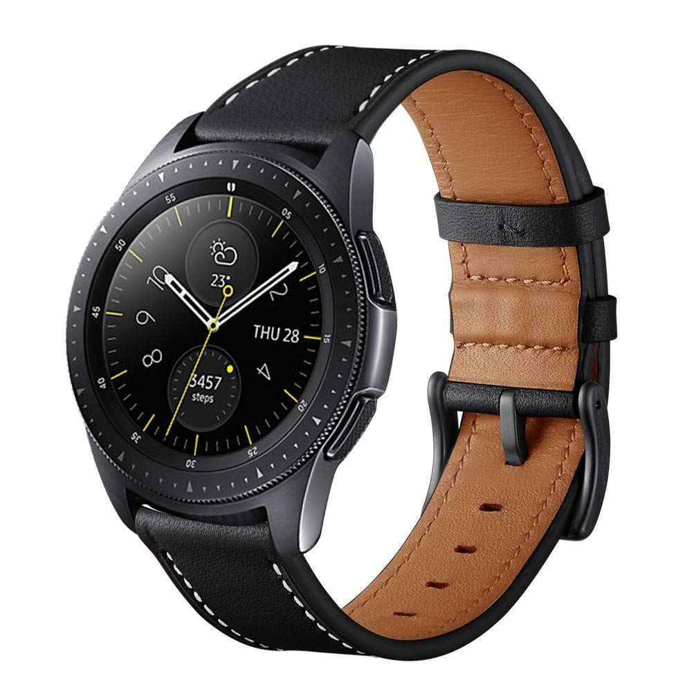 Aresh Compatible Samsung Galaxy Watch (42mm) Bands, 20mm Width Leather Replacement Band with Stainless Steel Buckle Accessory Strap Compatible Samsung Galaxy Watch (42mm) SM-R810/SM-R815 Black