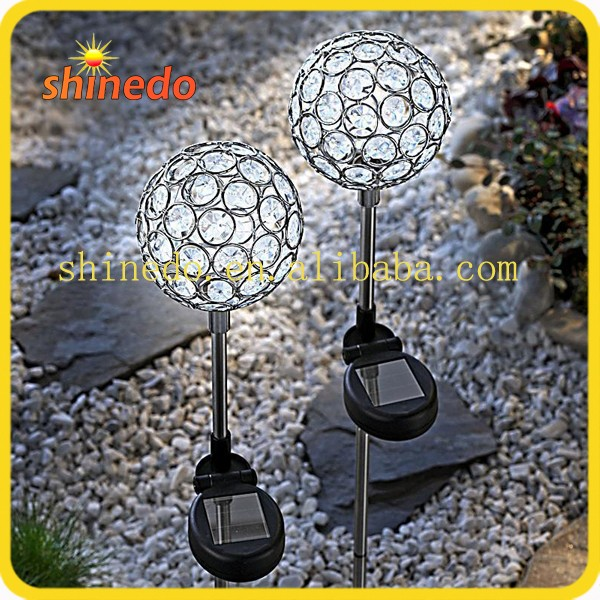Solar Changing Color Crystal Ball Stake Lights one piece in a color pack for garden yard patio decoration