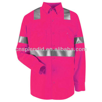 Men Safety Hi Vis 100% Cotton Twill Pink Work Shirt - Buy Pink ...