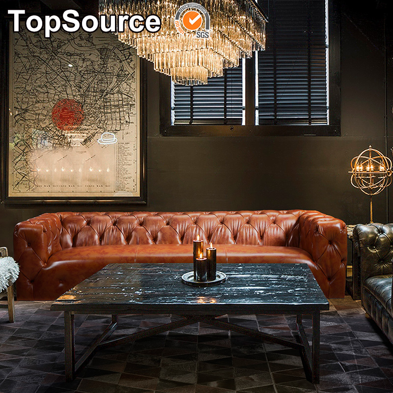 Used Chesterfield Foam Leather Sofa