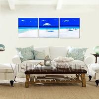 Modern Handmade Group Seascape Beach Oil Painting