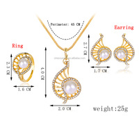 2016 fashion wholesale pearl setting women charm elegant jewelry set