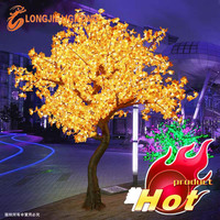 Good quality outdoor simulation led tree lighting artificial LED yellow Maple Tree light for street or yard decorations