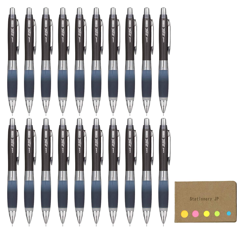 Uni Alpha Gel Shaker Mechanical Pencil Hard Grip Model 0.5 mm, Black Body, 20-pack, Sticky Notes Value Set