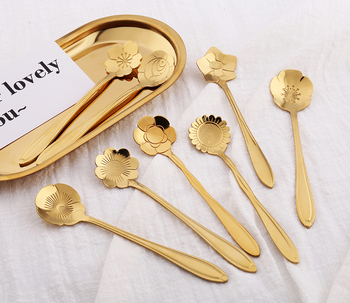 Stainless Steel Flower Spoon Dessert Candy Heart Spoon For Honey Baby Ice-cream Tea spoon
