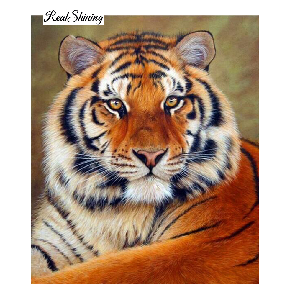 Diy 5D Resin Diamond Painting Cross Stitch Full Diamond Embroidery Tiger Pattern