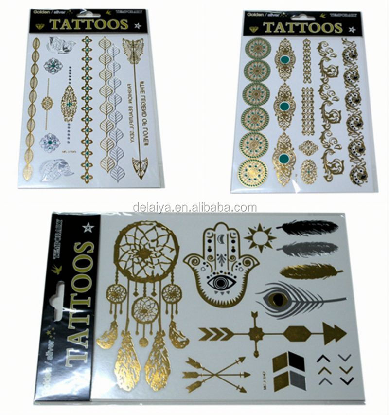 non-toxic tattoo sticker,hot metallic waterproof temporary tattoo sticker,golden temporary tattoo