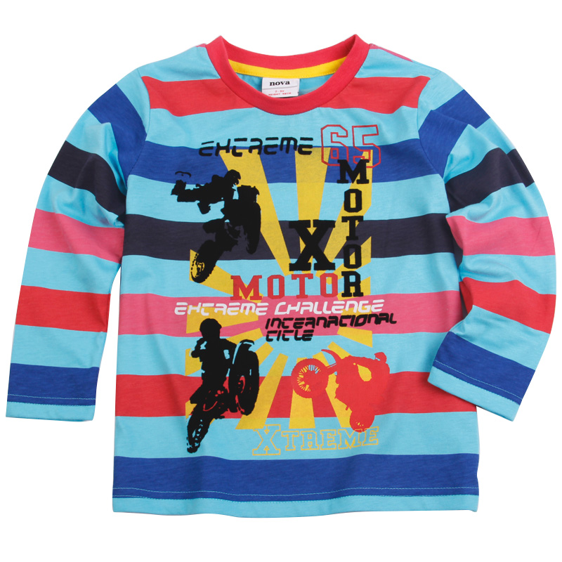 Nova brand boy spring autumn long sleeve T shirt children cartoon striped 100 cotton t shirt