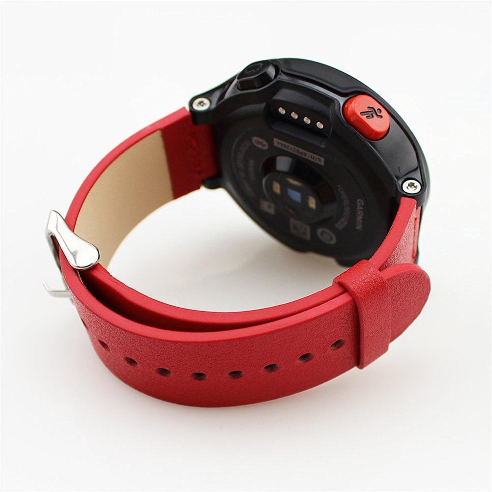 Garmin Forerunner 230 235 630 Replacement Band,DAYJOY Elegant Design Genuine Leather Watch Strap Adjustbable Wrist Band for Garmin Forerunner 230 235 630 (RED)