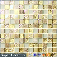 cheap price home decorative Luxury marble and glass mosaic tile